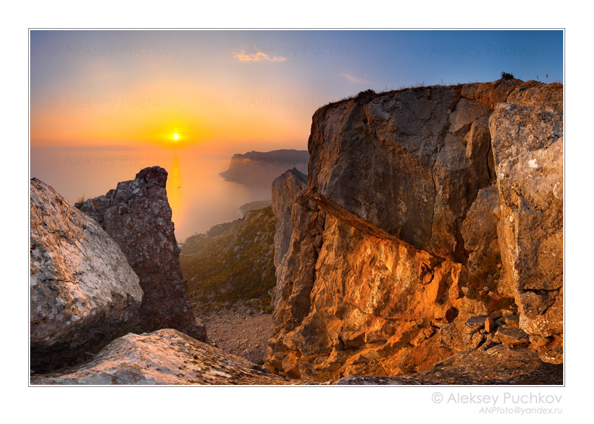 sight at the sea | dusk, rocks, sea, sun, panorama