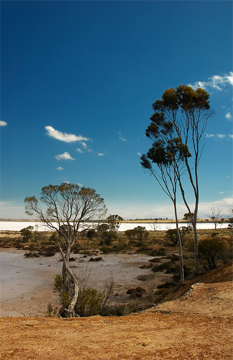 australian steppe | lake, sun, steppe