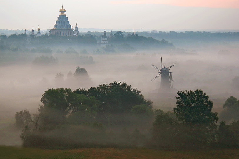 island temple. | windmill, cathedral, fog, panorama