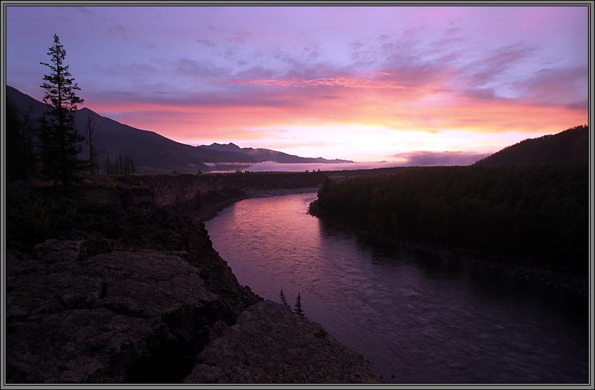 good morning, sun!   sky, dawn, panorama, mountains, river