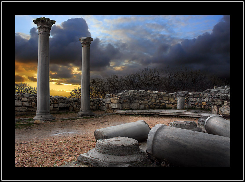 rainy evening at Khersones... | ruins, dusk, evening, clouds, hdr