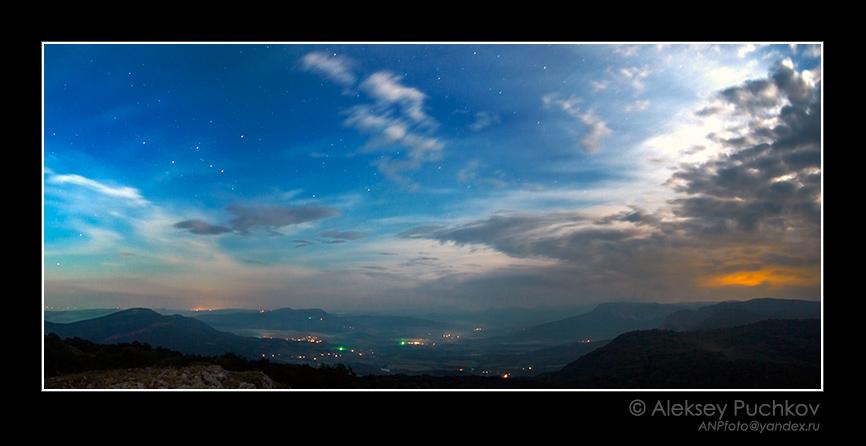 lunar sonata | night, mountains, panorama, stars, clouds