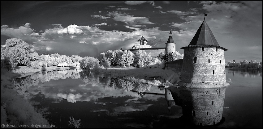 Panorama of Pskov | reflection, church, black and white, lake, panorama