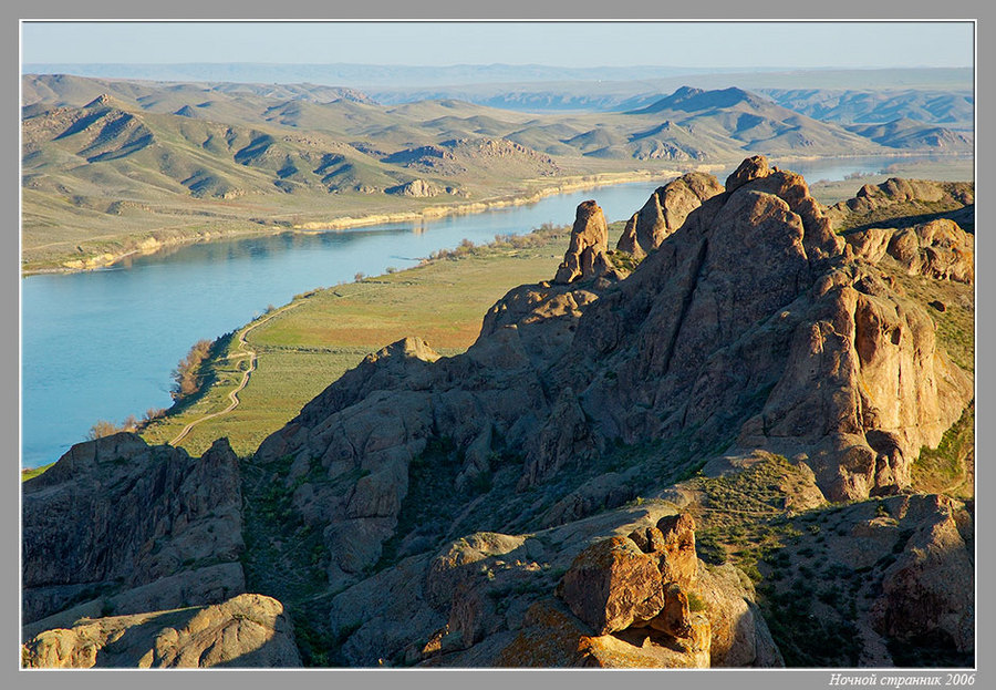 morning above the river | morning, river, mist, panorama, rocks