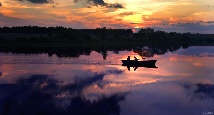 Soon the summer will be over... | lake, boat, people, silhouette, reflection