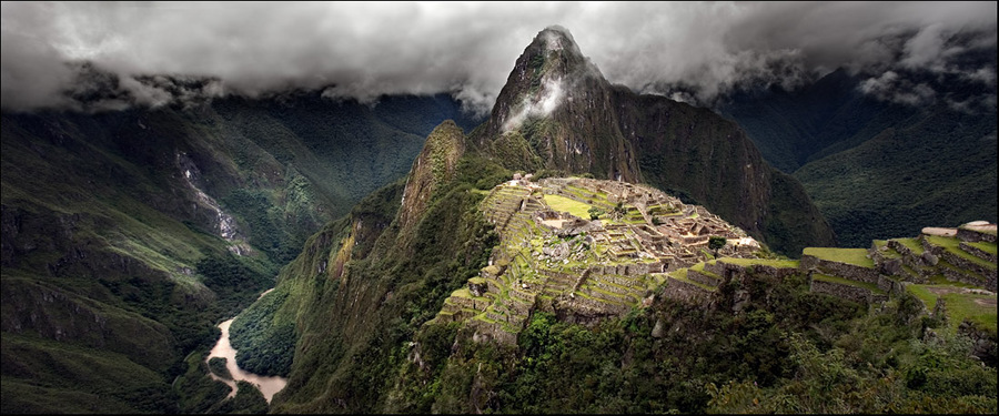 peru. machu pikchu. | panorama, mountains, valley, clouds, hdr