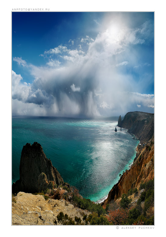 elements | sea, panorama, shore, rock, clouds, sky