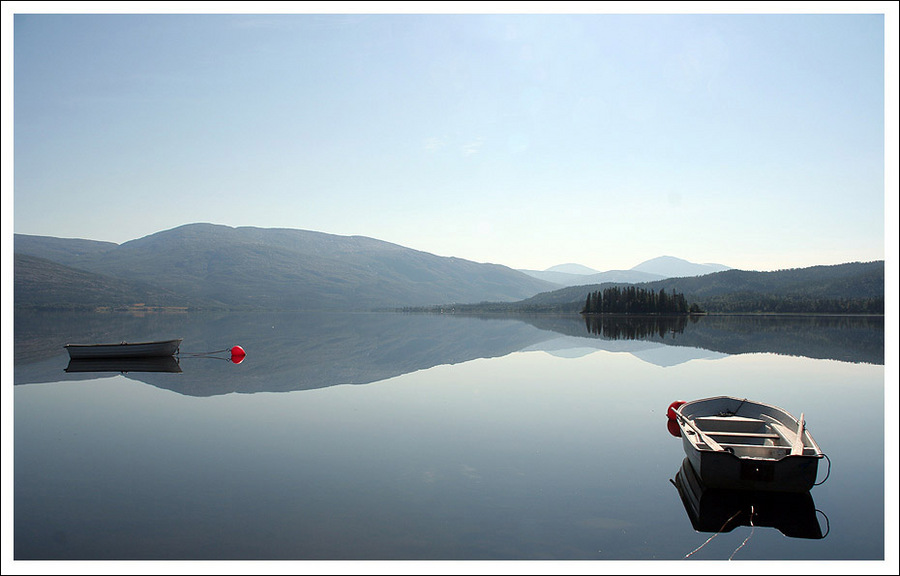 harmony | lake, mountains, boat, reflection, mist
