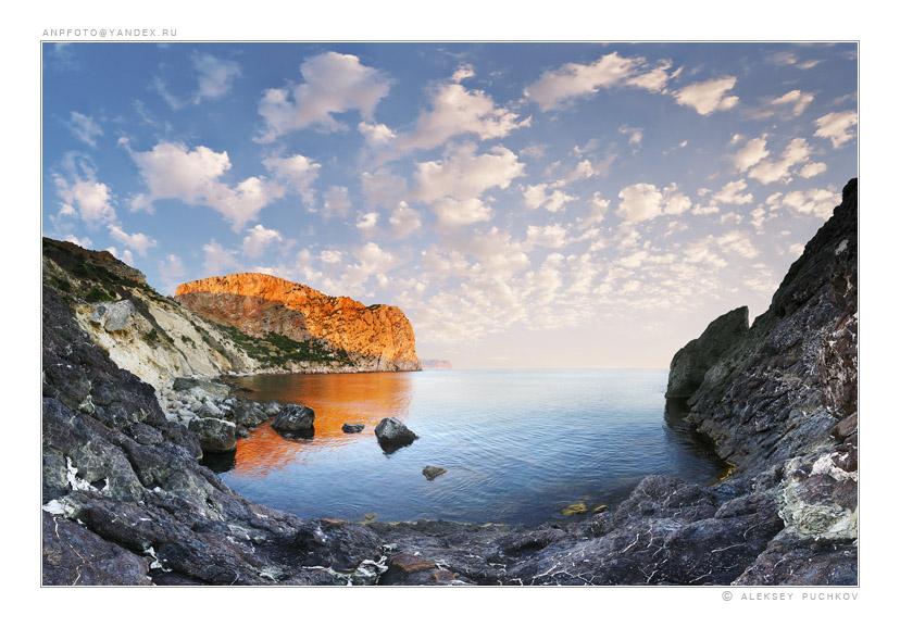sea landscape   mountains, bay, sea, clouds, rock