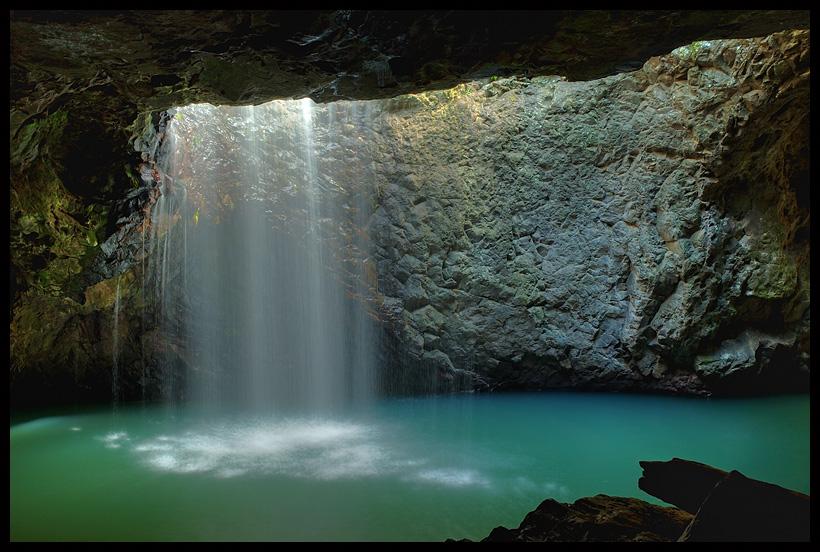 natural bridge | cave, lake, light, beams
