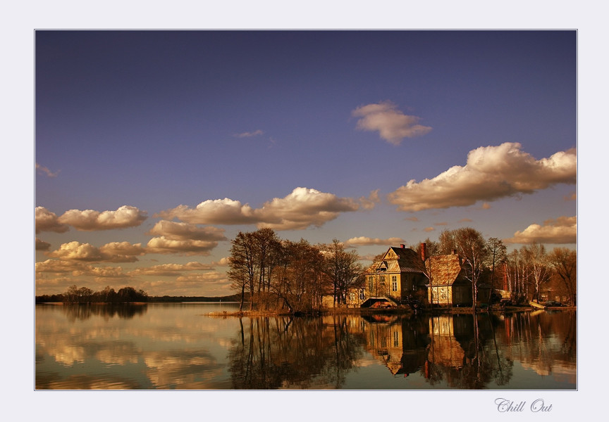 chill out | park, clouds, house, reflection, lake