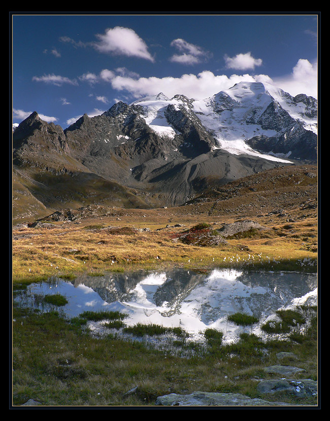 between summer and winter | mountains, autumn, clouds, lake, reflection