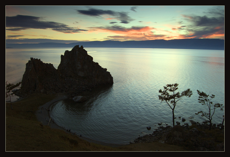 olkhon. shamanka. evening | dusk, sky, rock, panorama, lake
