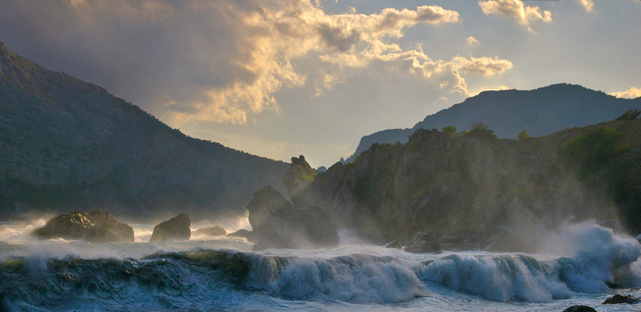 small storm in the end of summer 3 | storm, mist, mountains, rocks, waves