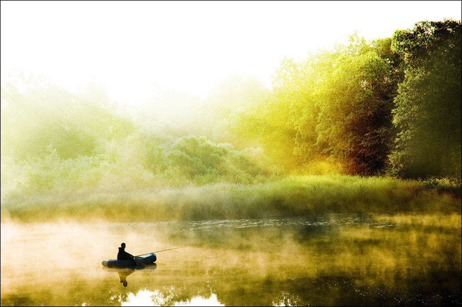 dream of the fisherman | people, light, boat, lake, hdr