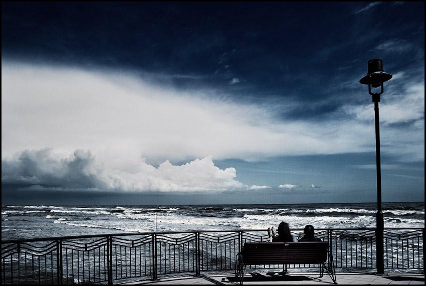 A wharf   waves, sea, bench, wharf, people