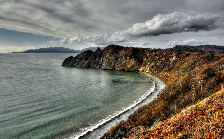landscape with late autumn | panorama, sea, hdr, shore, clouds
