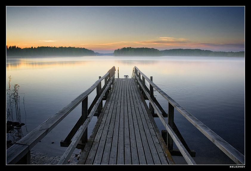 suomi *1 | bridge, forest, shore, mist, lake