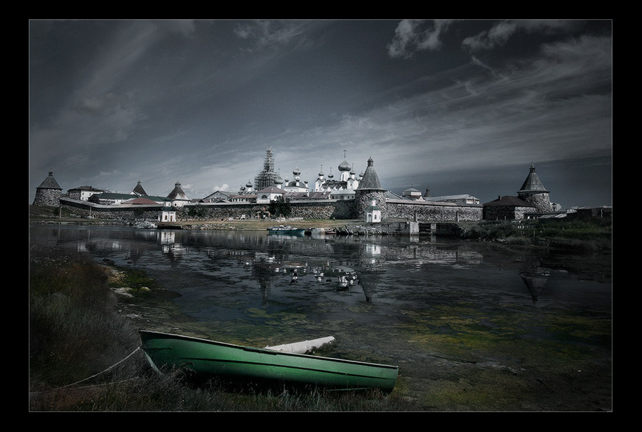 solovetsky kremlin   boat, fortress, hdr, lake, cathedral
