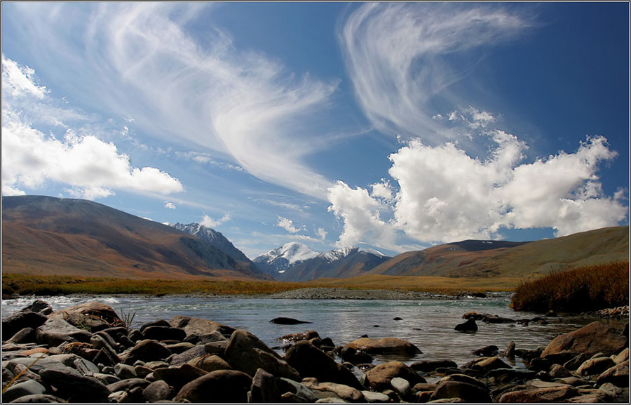 ... about the mountain rivers reflected in the sky | mountains, river, glacier, sky, clouds