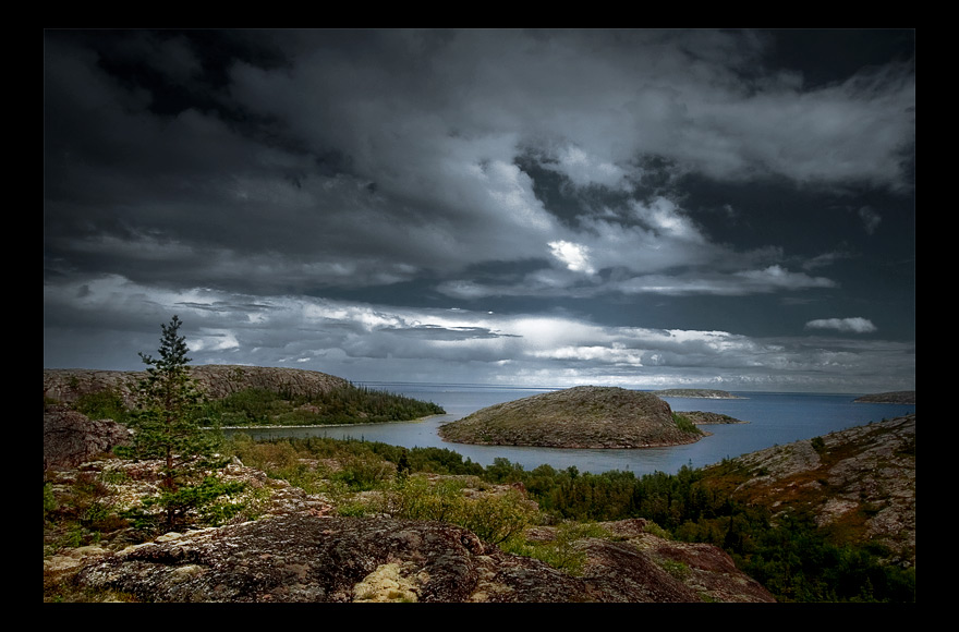 north | panorama, sea, clouds, island, hdr