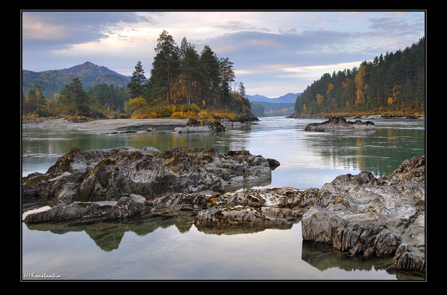 morning on katun | hills, rocks, forest, river, hdr