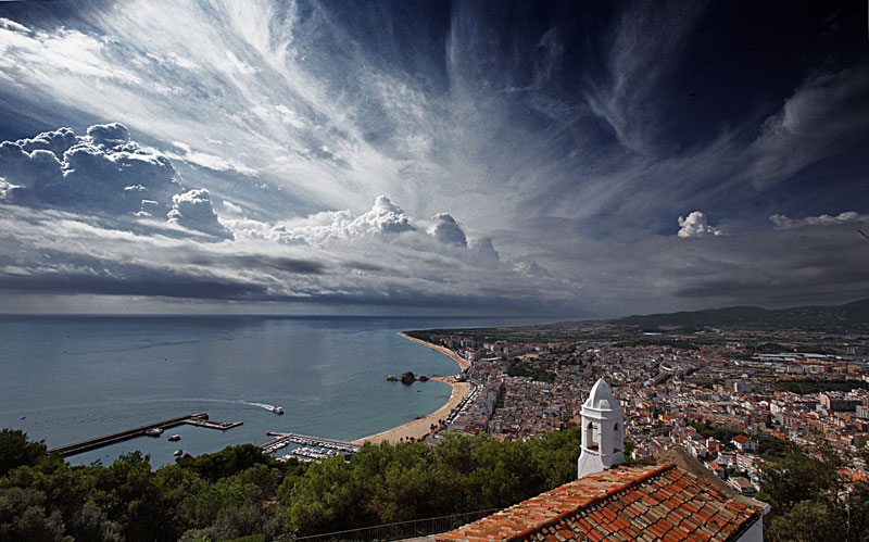 sky of spain | panorama, town, sea, clouds, beach