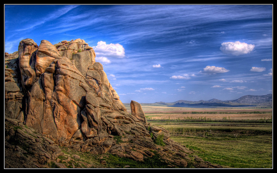 there where steppes speak with mountains | mountains, clouds, hdr, steppe