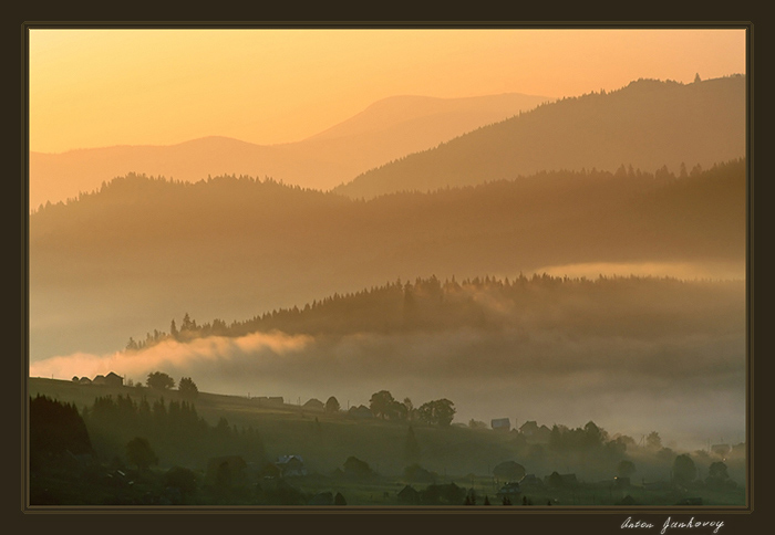 carpathian mountains | forest, sun, village, mist, mountains, panorama