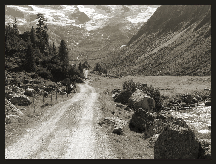 probably, somewhere there is snow... | panorama, black and white, road, mountains, rocks