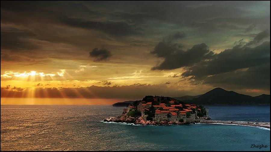 farewell beams to saint Stephen | panorama, sea, island, town, sun