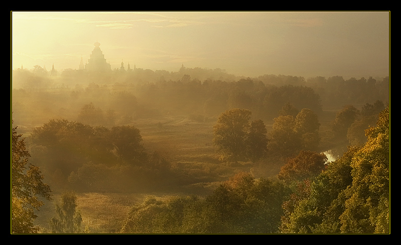 golden dawn.......... | panorama, dawn, cathedral, forest, mist