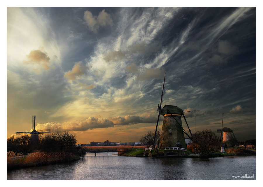 one evening and three windmills | windmill, river, sky, evening, clouds
