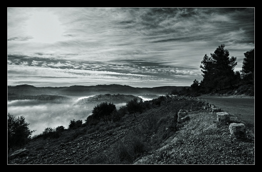 Road leading into fog...   mountains, forest, road, fog, black and white