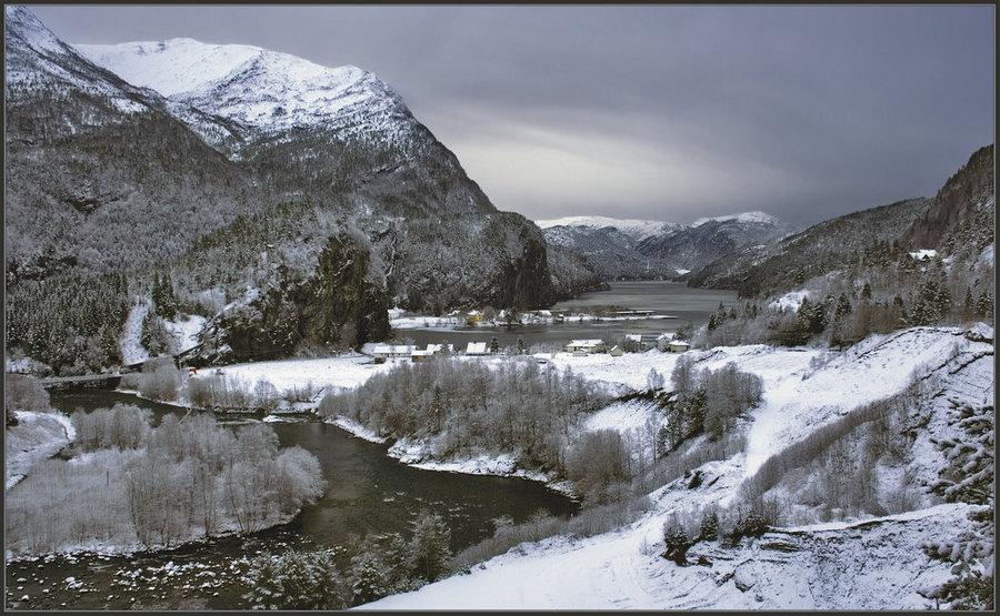 winter twilight | village, fjord, river, snow, mountains