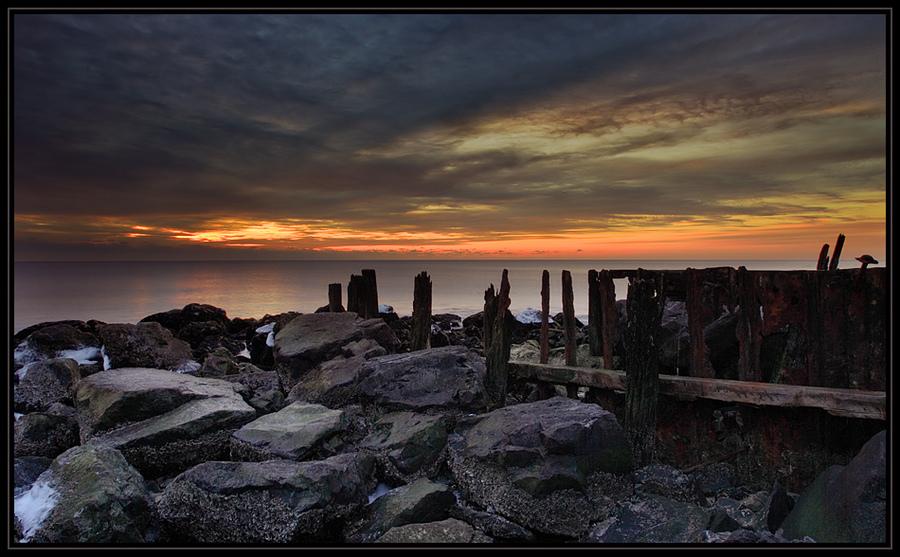 Old dock   sky, sea, rocks, shore, dusk