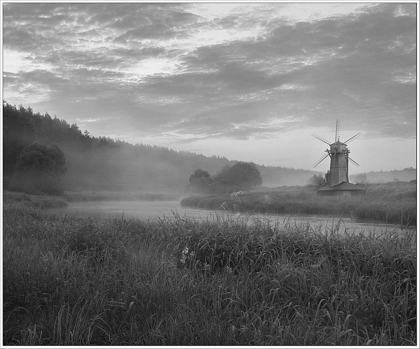 pacifying | windmill, black and white, rush, river, fog