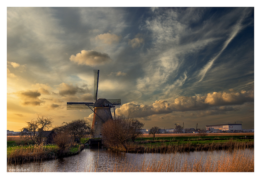sky that unites centuries | clouds, rush, river, sky, windmill
