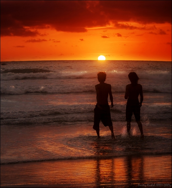 two and the sunset... | people, dusk, sea, beach, waves, foam, sky, silhouette