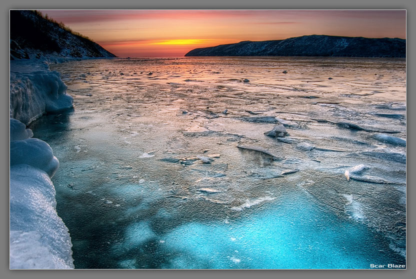 spring evening at the sea of okhotsk | shore, sea, ice, spring, dusk