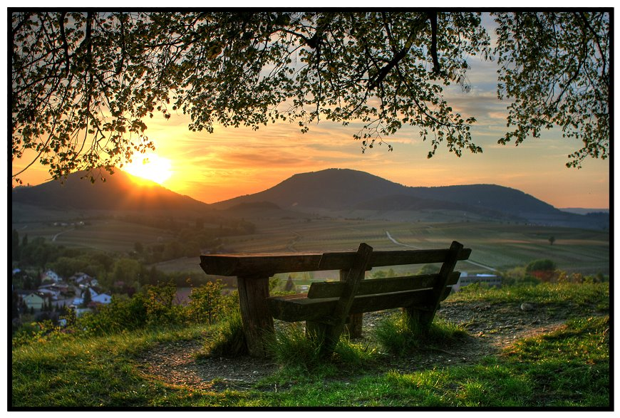 when evening comes 2  | dusk, grass, panorama, hills, bench