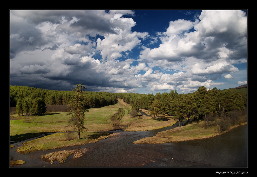 before the thunder-storm | clouds, forest, panorama, river