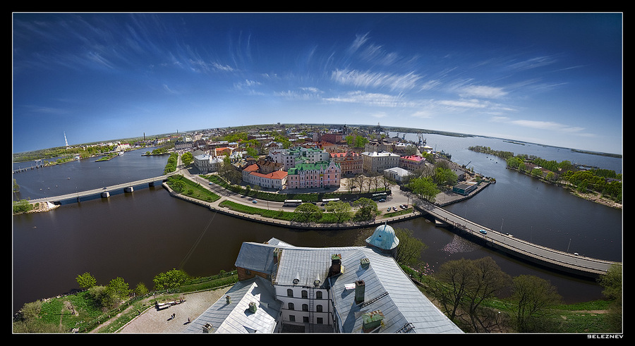 small city of vyborg | sea, sky, house, city, panorama