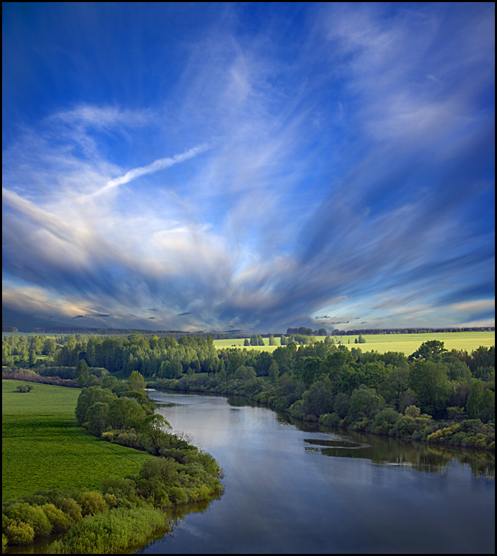 evening above the river | panorama, river, evening, forest