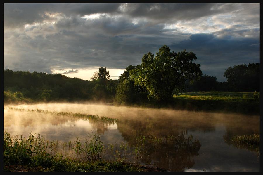 Evening | mist, evening, green, clouds, river