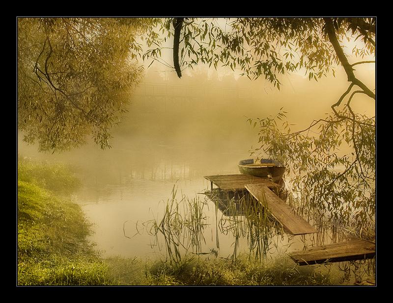 silence of summer morning (repost) the 100-th-anniversary | rush, bridge, boat, fog, lake
