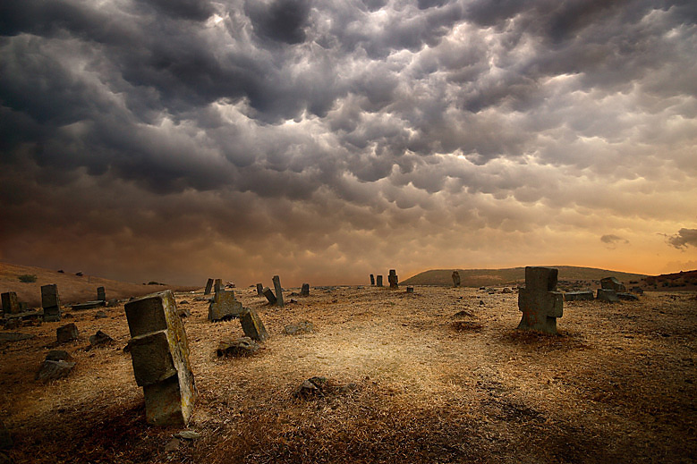 Cemetery | cemetery, wasteland, hdr, clouds