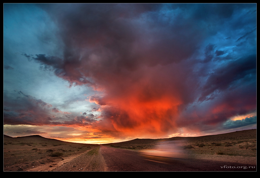 on the road to flaming sunset | dusk, road, field, clouds