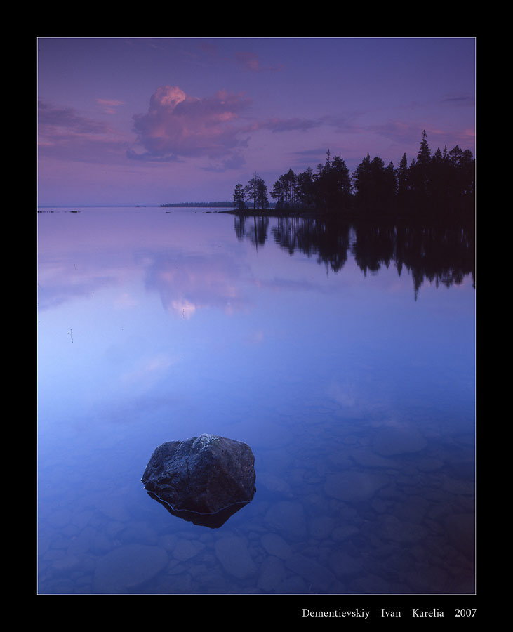 prelude to levitation | reflection, evening, rocks, forest, lake