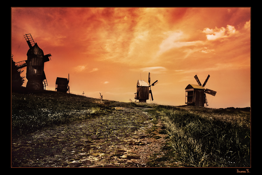 Don Quihote valley | grass, road, windmill, dusk